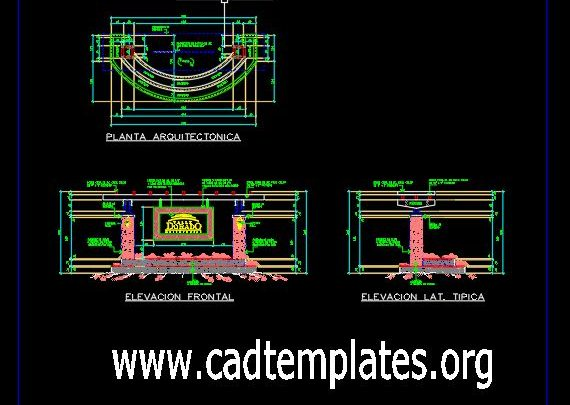 Monument Of Entrance Details CAD Template DWG