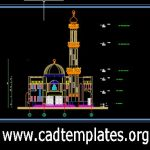 Mosque Minaret Elevation Details CAD Template DWG