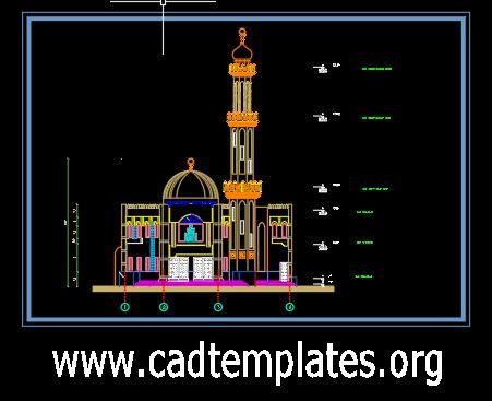 Mosque Minaret Elevation Details CAD Template DWG
