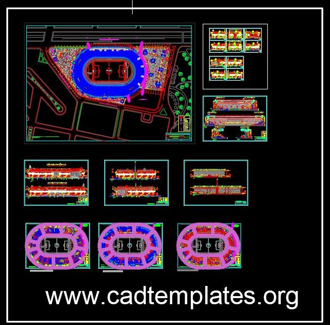 Olympic Stadium Plans and Elevations Details CAD Template DWG