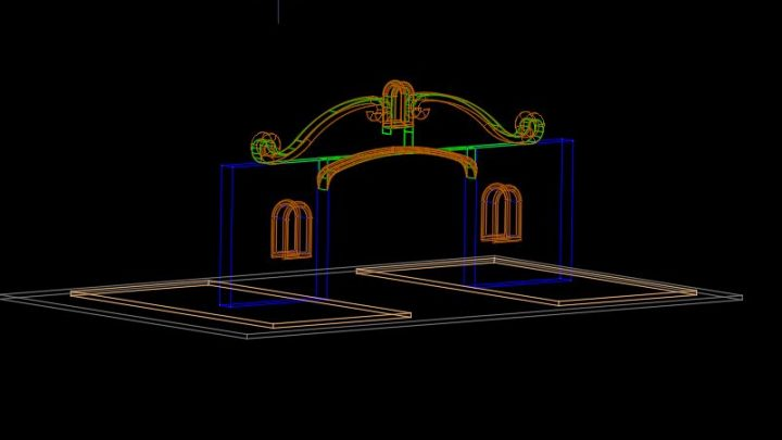 Residential Porch 3D Model CAD Template DWG