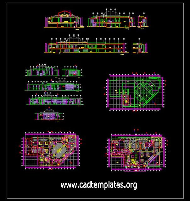 Seminar Hall Layout Plan and Elevations CAD Template DWG