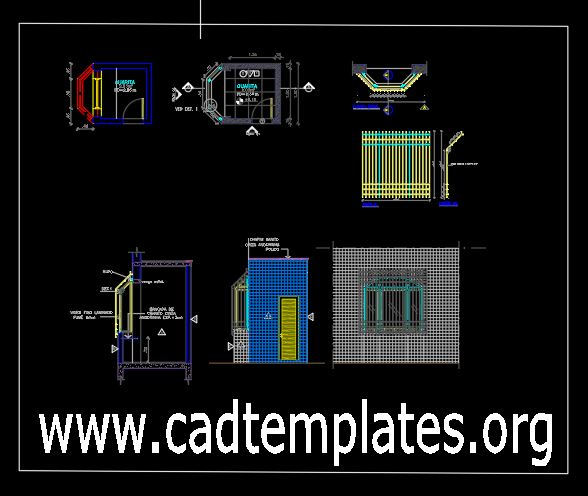 Sentry Post Plan Details CAD Template DWG