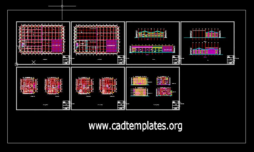 Steel Factory Plan and Elevation Autocad DWG File
