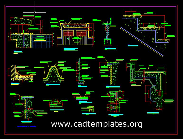 Swiming Pool Construction Details CAD Template DWG