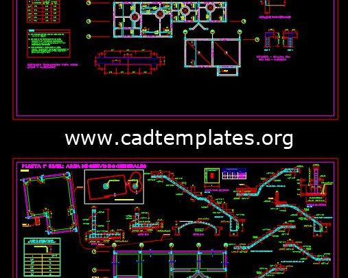Swimming Pool Reinforced Concrete Details CAD Template DWG
