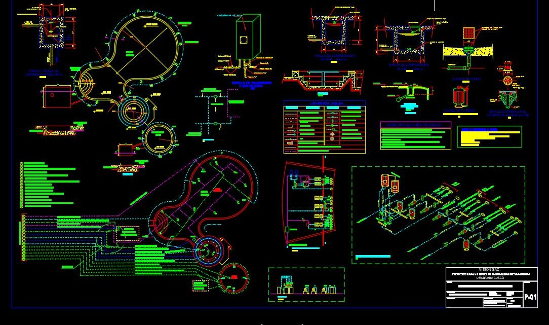 Swimming Pool Sanitary Details Plan CAD Template DWG
