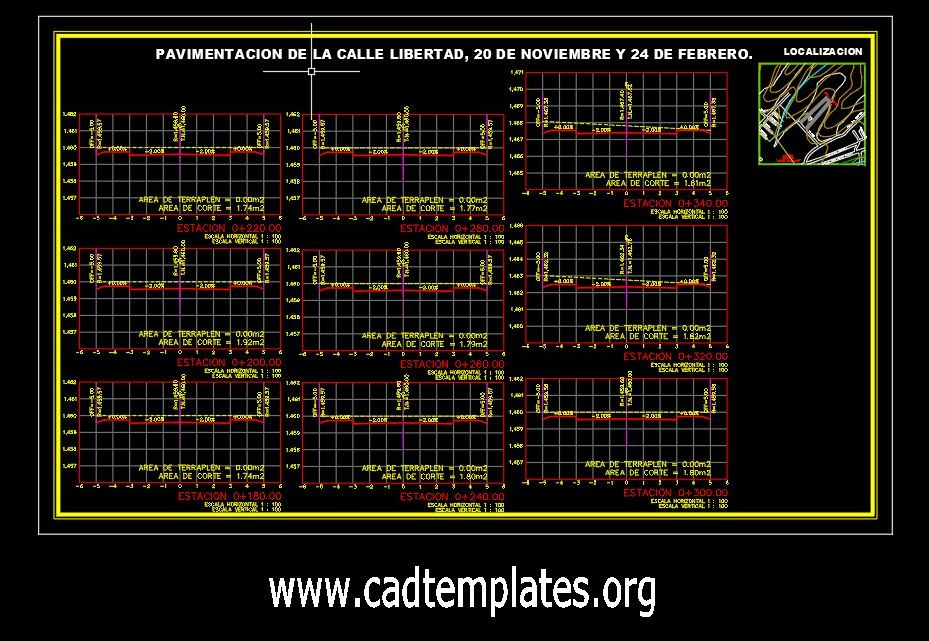 Urban Road Cross Sections CAD Template DWG