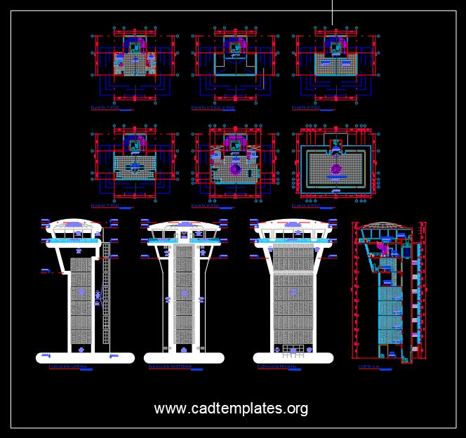 Airport Control Tour Layout Plan and Elevation CAD Template DWG