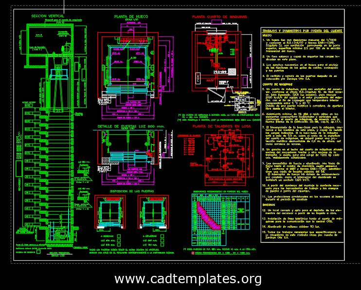 Airpot Control Tour Elevator Details CAD Template DWG