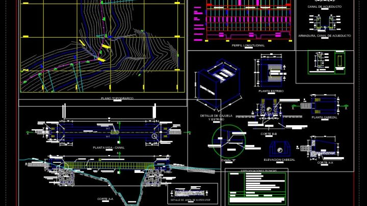 Aqueduct Concrete Plan Profil and Section Details CAD Template DWG