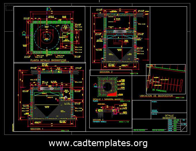 Biodigestor Structural Details CAD Template DWG