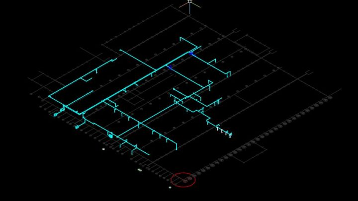 Compressed Air Lines 3D Model CAD Template DWG