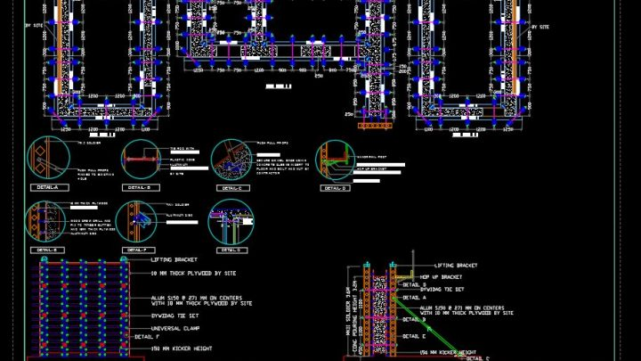 Core Walls Framework Details CAD Template DWG
