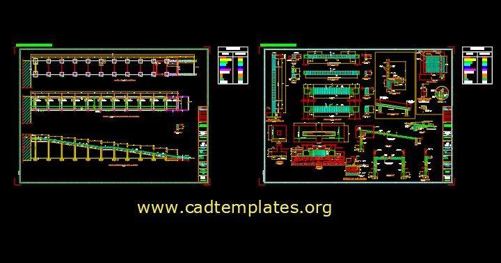 Deck Ramp Reinforced Concrete Details CAD Template DWG