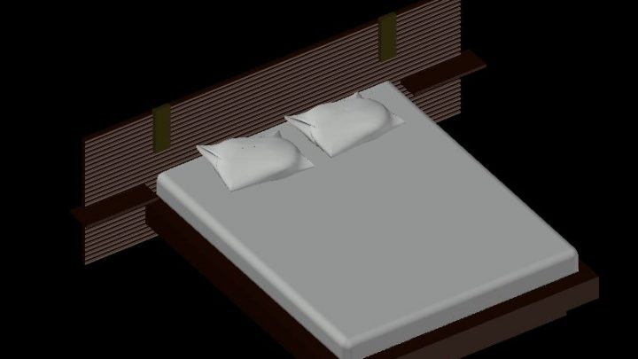Double Bed 3D Model CAD Template DWG