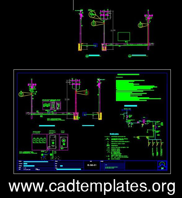 Electric Pole Underground Details CAD Template DWG