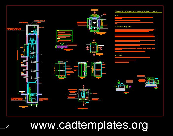 Elevator Elevation and Sections Details CAD Template DWG