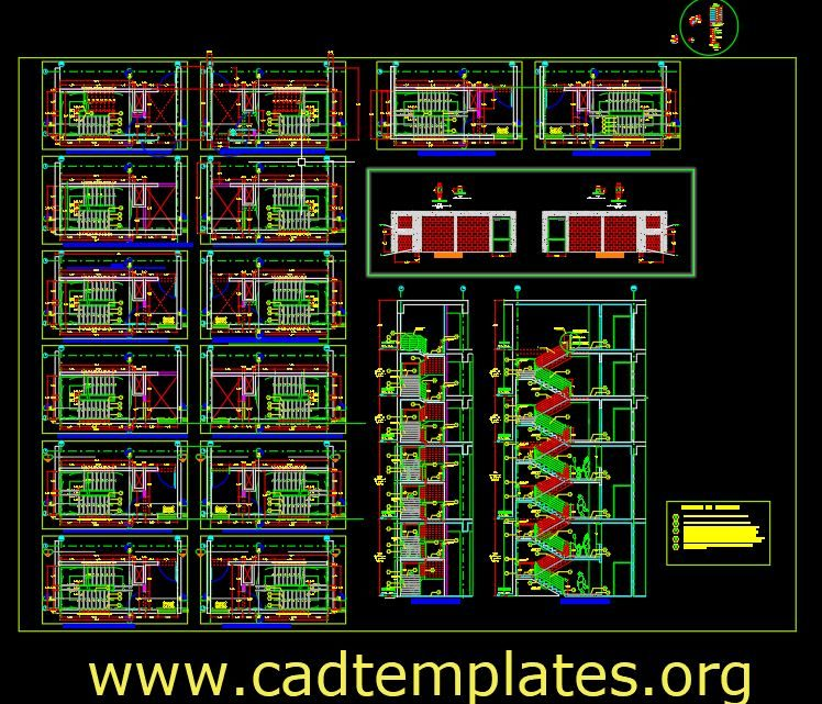 Emergency Stairs Elevation and sections Details CAD Template DWG