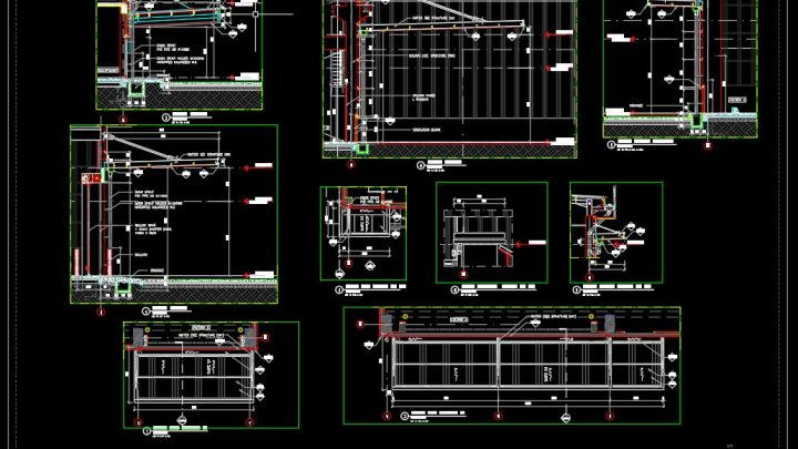 Factory Canopy Elevation and Sections Details CAD Template DWG