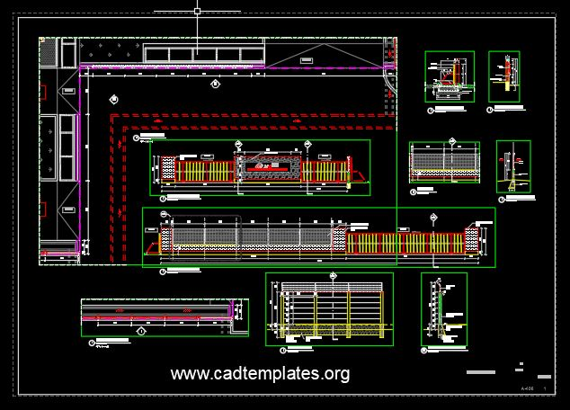 Fence Elevation and Sections Details CAD Template DWG