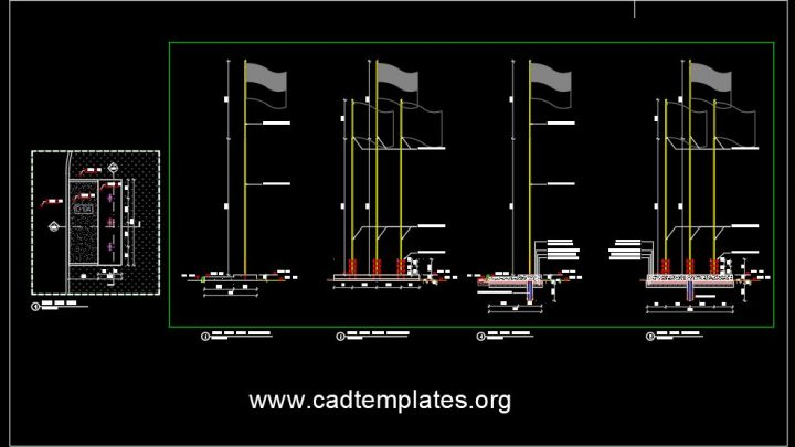 Flag Pole Elevation and Sections Details CAD Template DWG