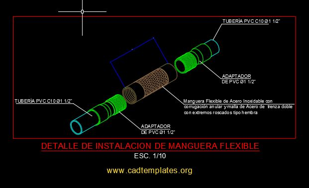 Flexible Hose Installation Detail CAD Template DWG