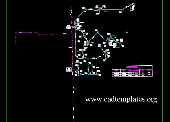 Fool Water Installation Network CAD Template DWG