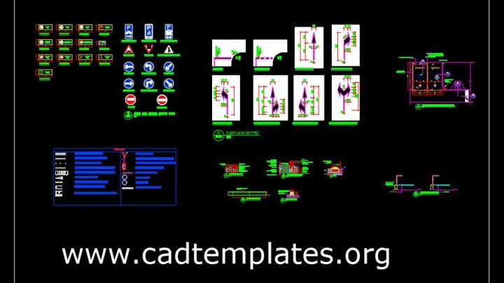 General Kerb and Parking Details CAD Template DWG