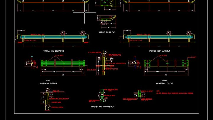 Guardrail Elevation and sections Details CAD Template DWG