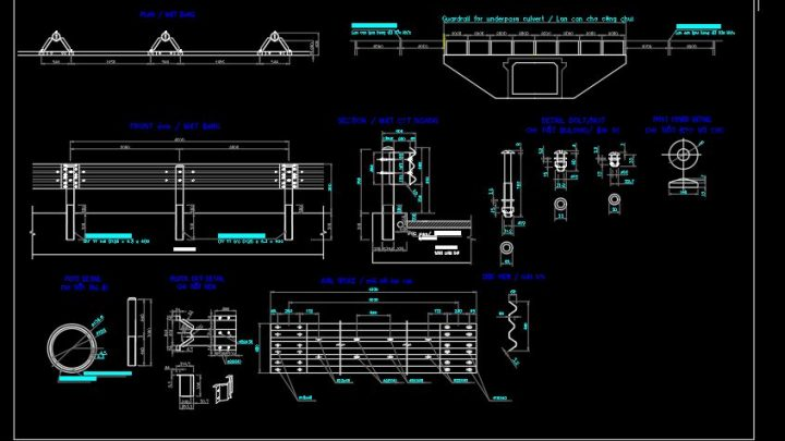 Guardrail For Underpass Culvert Details CAD Template DWG