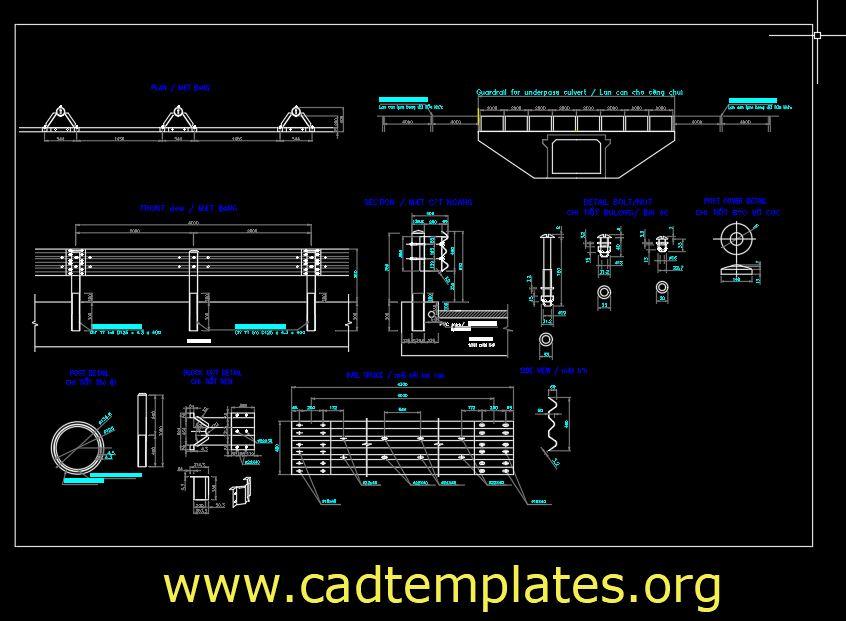 Guardrail For Underpass Culvert Details CAD Template DWG