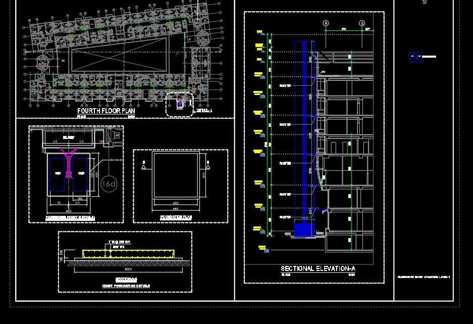 Hoist Lift Passenger Layout Plan CAD Template DWG