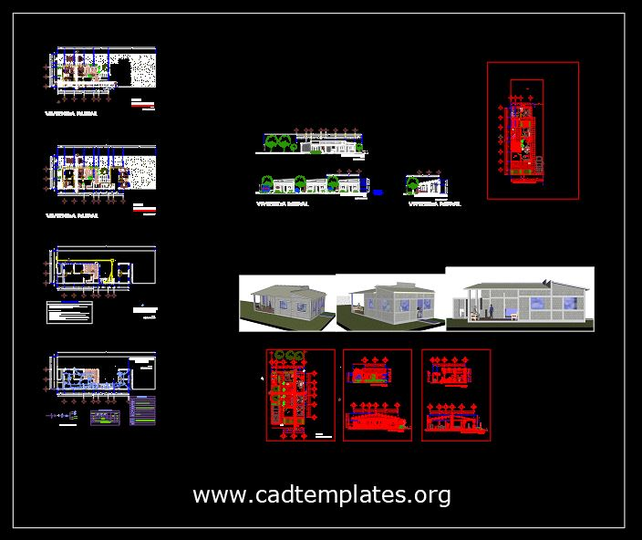 Housing For Sustainable Rural City plans CAD Template DWG