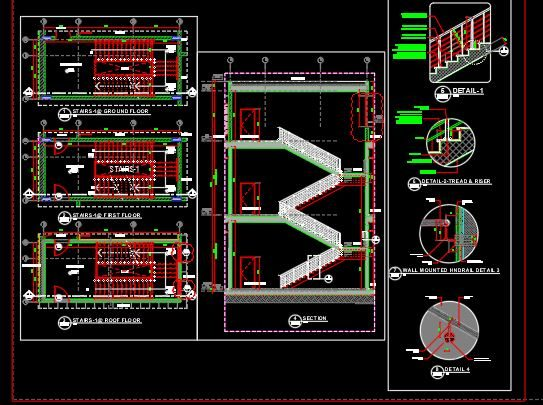 Hypermarket Stairs Details CAD Template DWG