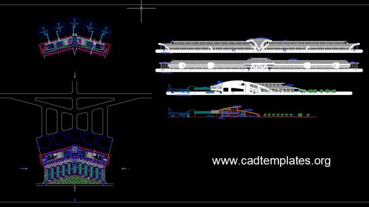 International Airport Layout Plan and Elevation CAD Template DWG