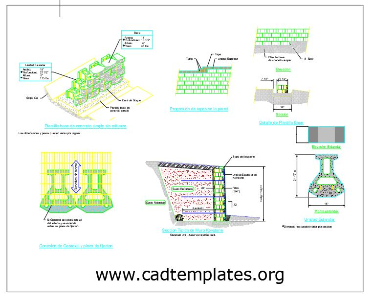 Keystone Retaining Wall Structural Details CAD Template DWG