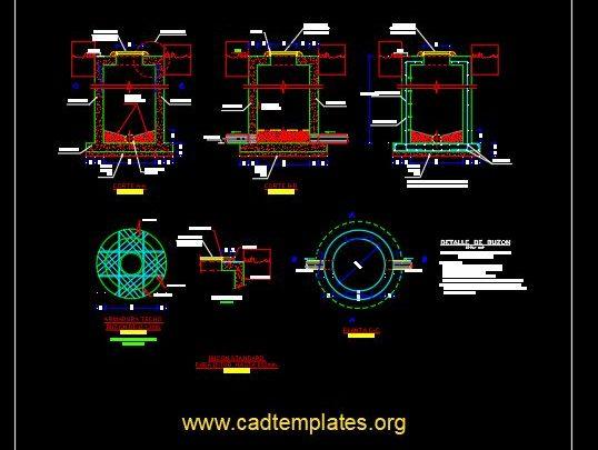 Manhole Reinforcement Concrete Details CAD Template DWG