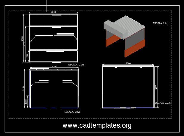 Market Stad Elevation Details CAD Template DWG