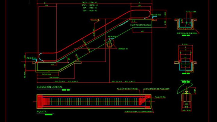Mechanical Escalator Structural Details CAD Template DWG