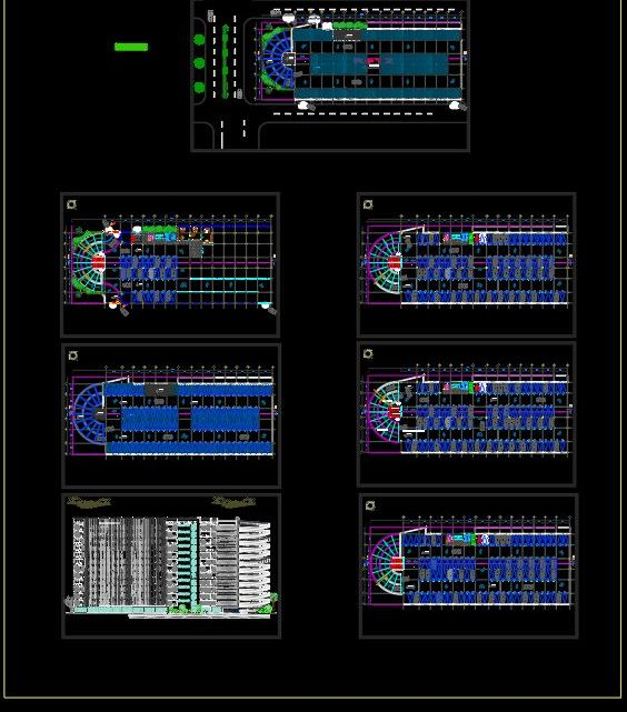 Multi Level Parking Cars Plan and Elevations CAD Template DWG