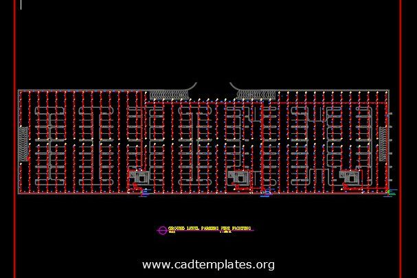 Parking Fire Fighting Layout Plan CAD Template DWG