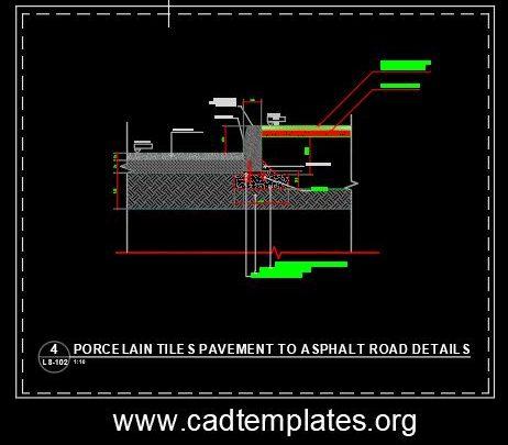 Porcelain Tiles Pavement To Asphalt Road Details CAD Template DWG