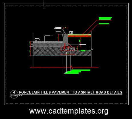 Porcelain Tiles Pavement To Asphalt Road Details CAD Template DWG