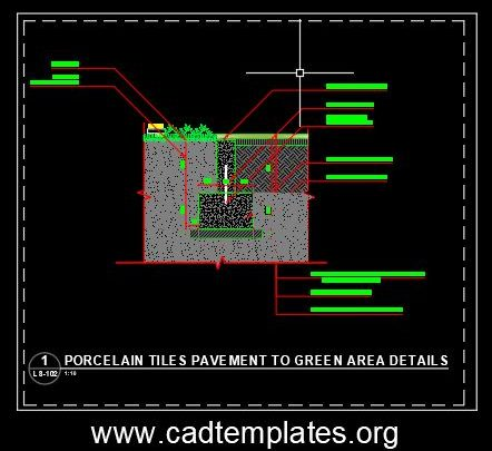 Porcelain Tiles Pavement To Green Area Details CAD Template DWG