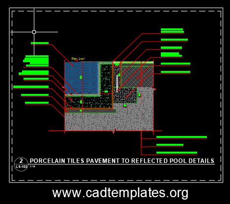 Porcelain Tiles Pavement To Reflected Pool Details CAD Template DWG