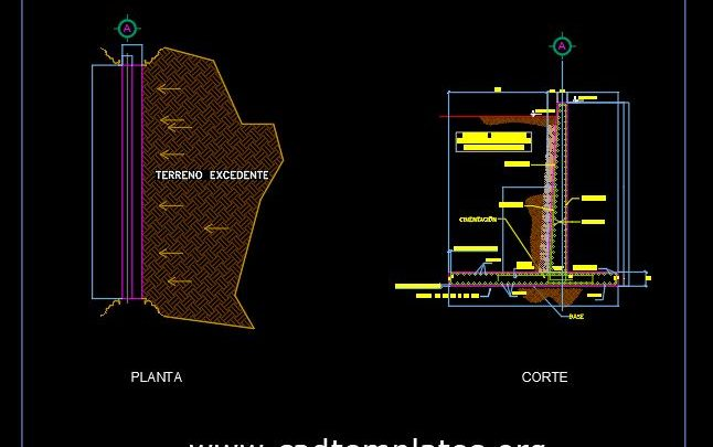 Retaining Wall Section Details CAD Template DWG