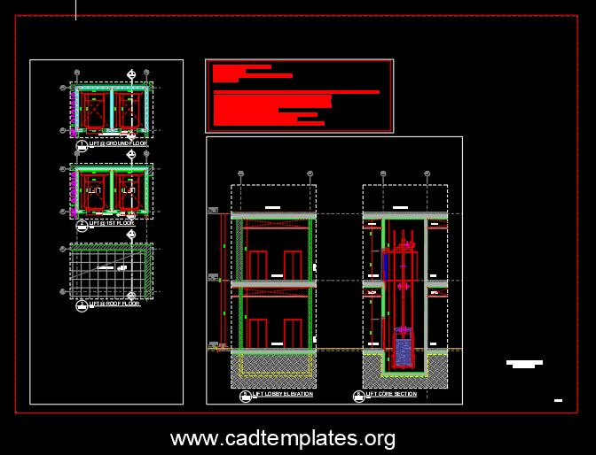 Shopping Mall Lift Details CAD Template DWG