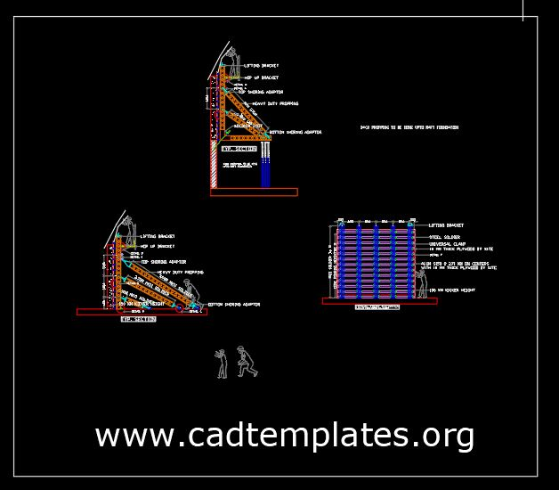 Single Side Wall Details CAD Template DWG