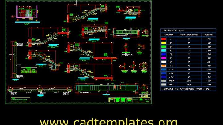 Staircase Rienforcement Concrete Details CAD Template DWG